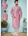 Dusty Pink Readymade Designer Party Wear Kurta Pajama For Men