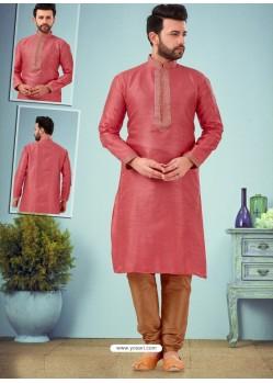Light Red Readymade Designer Party Wear Kurta Pajama For Men