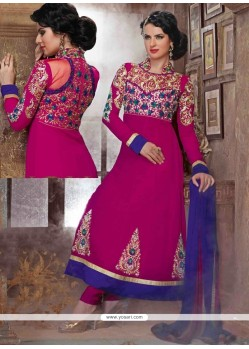Sightly Embroidered Work Hot Pink Georgette Anarkali Suit