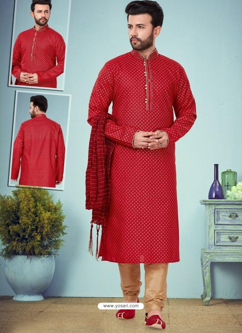Red Readymade Designer Party Wear Kurta Pajama For Men
