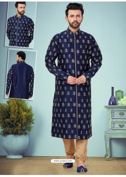 Navy Blue Readymade Designer Party Wear Kurta Pajama For Men
