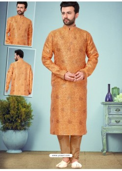 Orange Readymade Designer Party Wear Kurta Pajama For Men