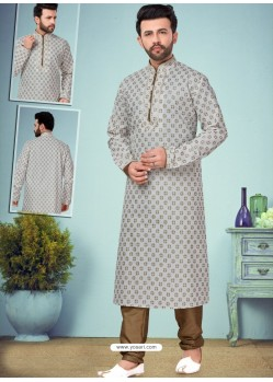 Light Grey Readymade Designer Party Wear Kurta Pajama For Men