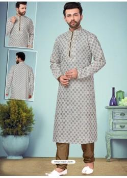 Light Grey Readymade Designer Party Wear Kurta Pajama For Men