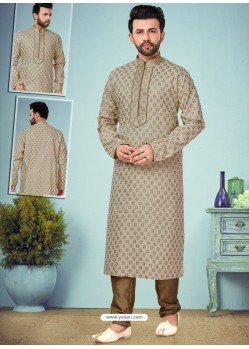 Taupe Readymade Designer Party Wear Kurta Pajama For Men