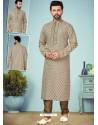 Taupe Readymade Designer Party Wear Kurta Pajama For Men