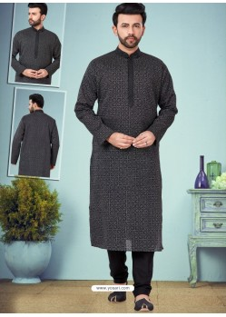 Black Readymade Designer Party Wear Kurta Pajama For Men
