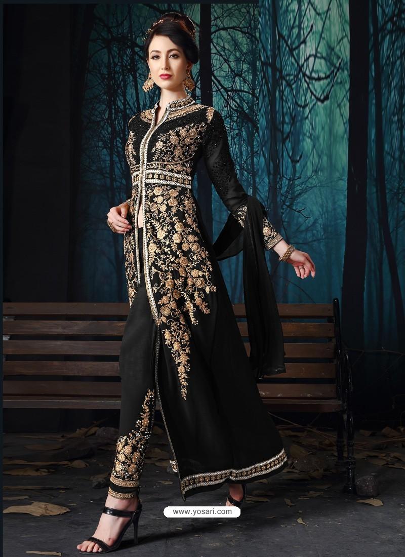 Black Designer Pure Georgette Party Wear Suit