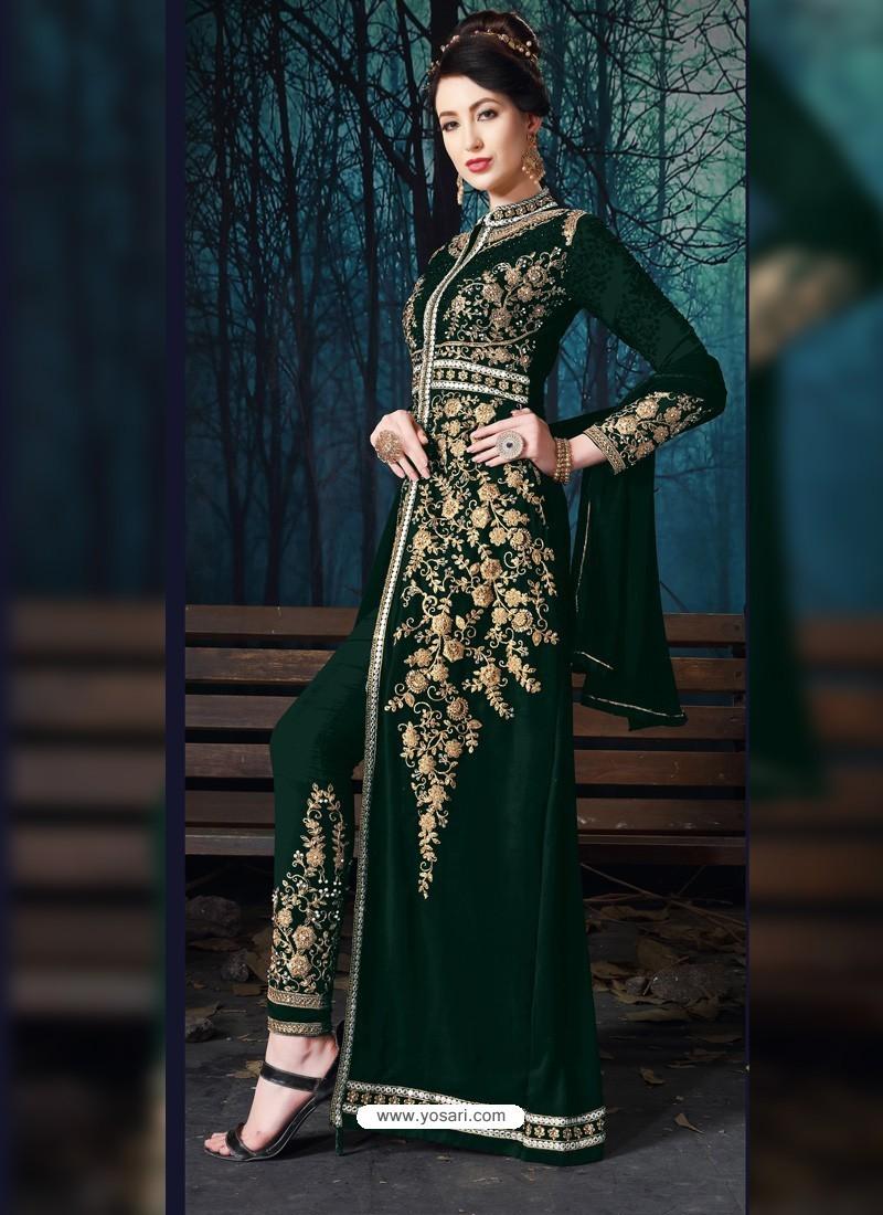Dark Green Designer Pure Georgette Party Wear Suit