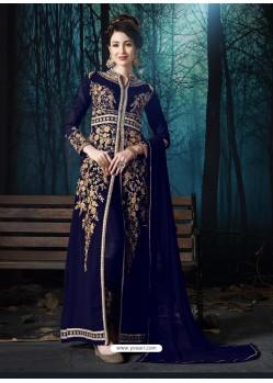 Royal Blue Designer Pure Georgette Party Wear Suit