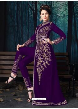 Purple Designer Pure Georgette Party Wear Suit
