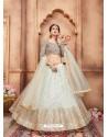 Off White Scintillating Designer Wedding Wear Lehenga