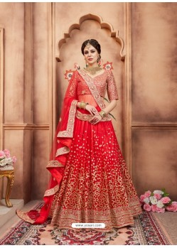 Red Scintillating Designer Wedding Wear Lehenga