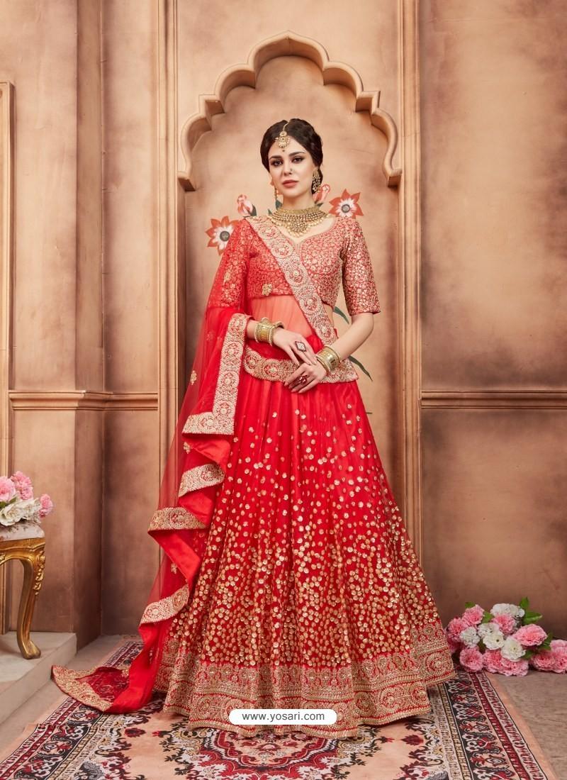 Red Scintillating Designer Wedding Wear Lehenga
