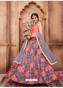 Grey Scintillating Designer Wedding Wear Lehenga