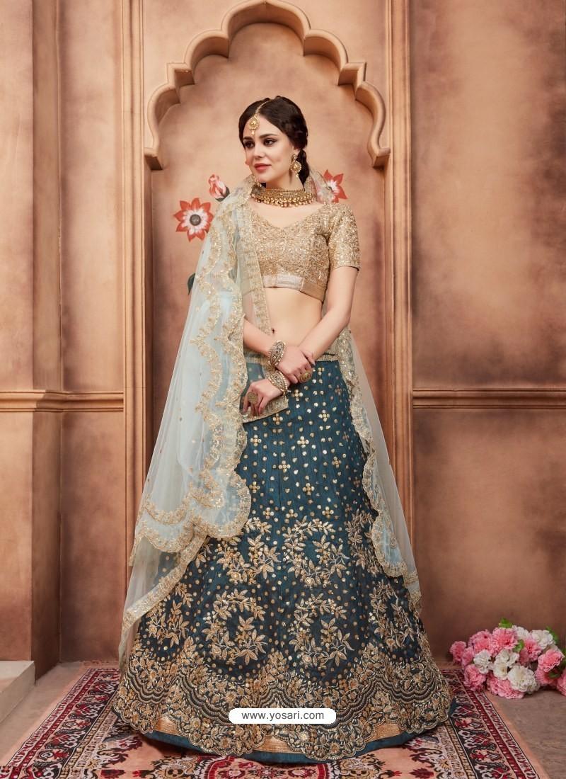 Teal Blue Scintillating Designer Wedding Wear Lehenga
