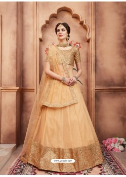 Light Beige Scintillating Designer Wedding Wear Lehenga