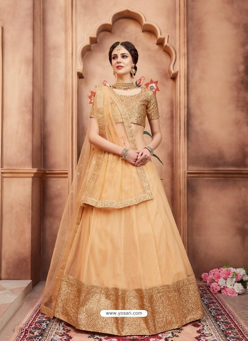 Light Beige Scintillating Designer Wedding Wear Lehenga