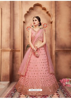 Pink Scintillating Designer Wedding Wear Lehenga