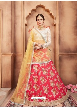 Dark Peach Scintillating Designer Wedding Wear Lehenga