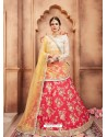 Dark Peach Scintillating Designer Wedding Wear Lehenga