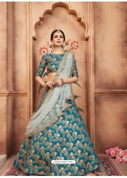 Teal Blue Scintillating Designer Wedding Wear Lehenga