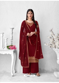 Maroon Heavy Designer Party Wear Georgette Palazzo Suit