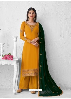 Yellow Heavy Designer Party Wear Georgette Palazzo Suit