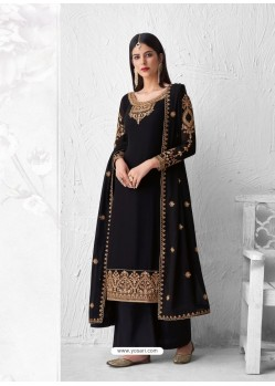 Black Heavy Designer Party Wear Georgette Palazzo Suit