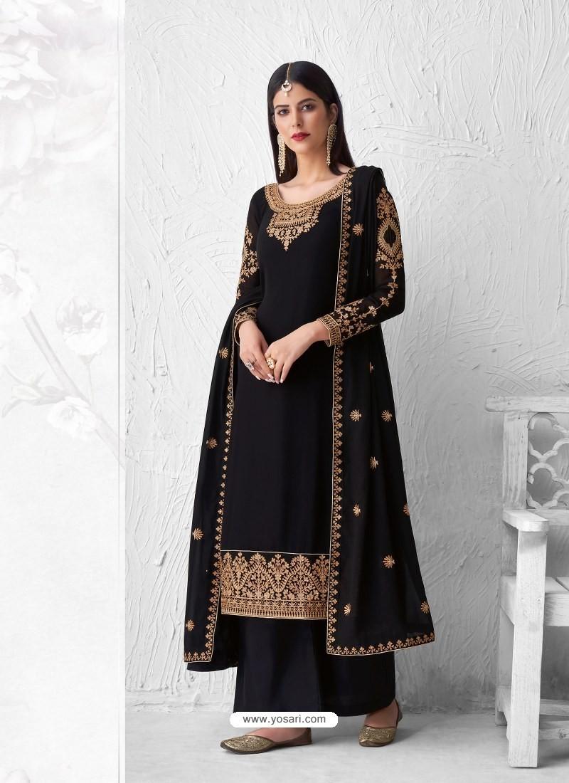Black Heavy Designer Party Wear Georgette Palazzo Suit
