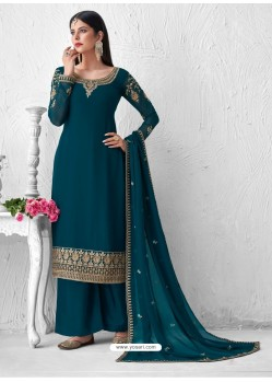Teal Blue Heavy Designer Party Wear Georgette Palazzo Suit