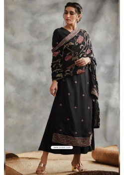 Black Designer Party Wear Blooming Foux Georgette Salwar Suit