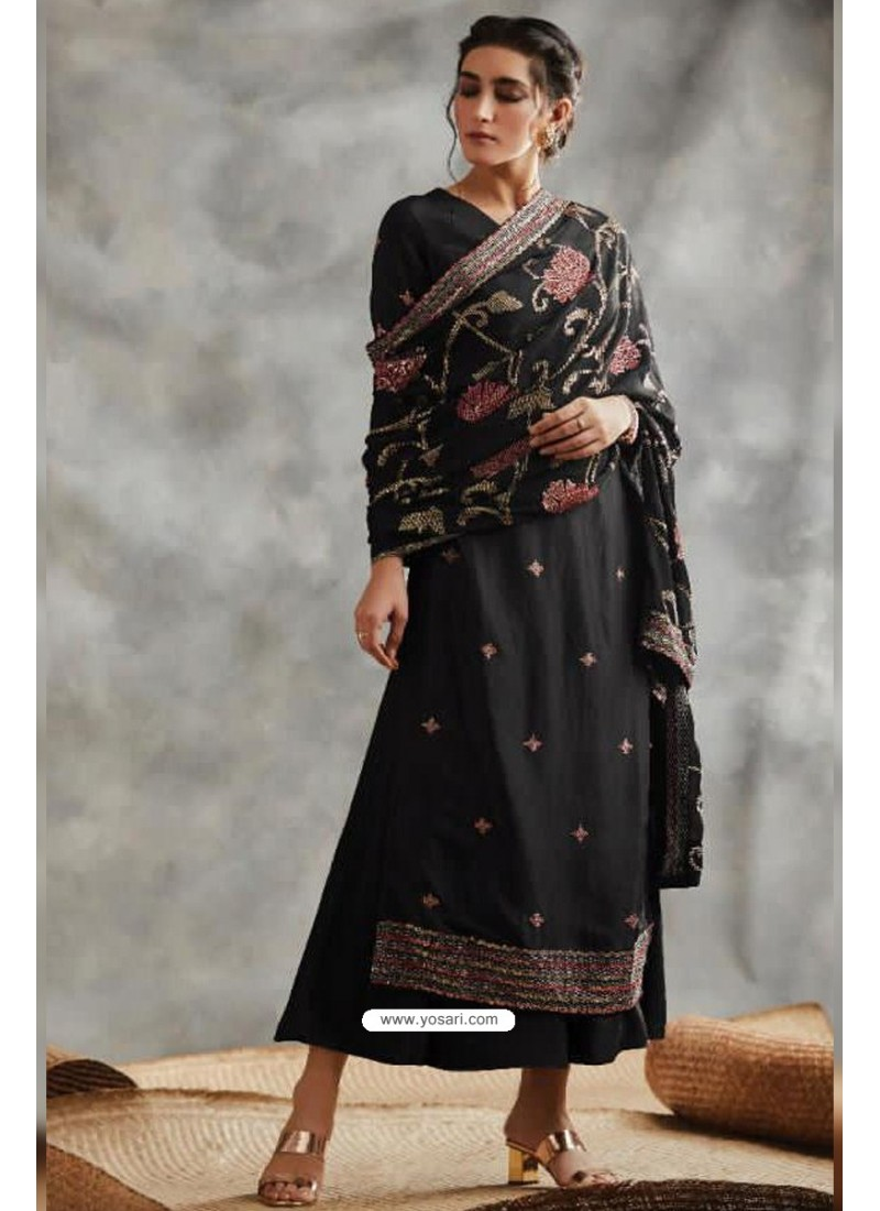 Black Designer Party Wear Blooming Foux Georgette Salwar Suit