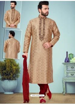 Beige Readymade Designer Party Wear Kurta Pajama For Men