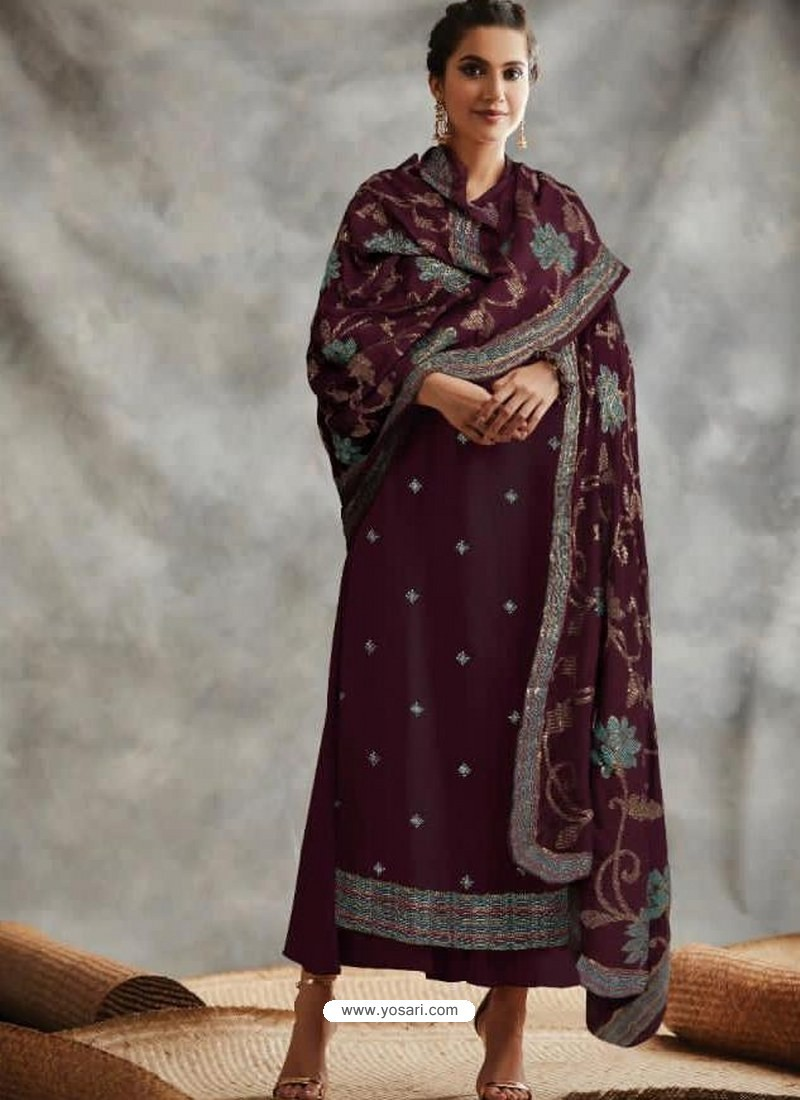 Deep Wine Designer Party Wear Blooming Foux Georgette Salwar Suit