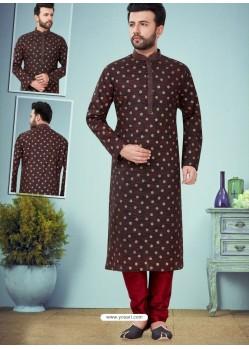 Coffee Readymade Designer Party Wear Kurta Pajama For Men
