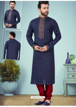 Navy Blue Readymade Designer Party Wear Kurta Pajama For Men