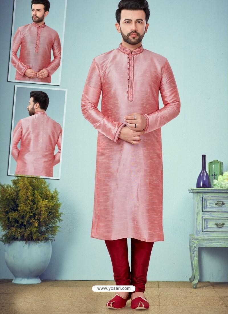 Pink Readymade Designer Party Wear Kurta Pajama For Men