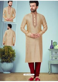 Gold Readymade Designer Party Wear Kurta Pajama For Men