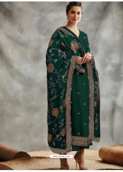 Dark Green Designer Party Wear Blooming Foux Georgette Salwar Suit