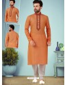 Orange Readymade Designer Party Wear Kurta Pajama For Men