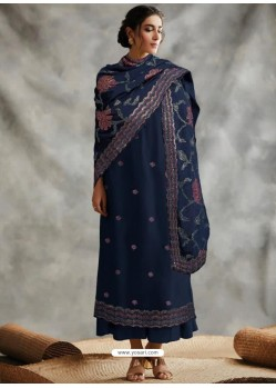 Navy Blue Designer Party Wear Blooming Foux Georgette Salwar Suit