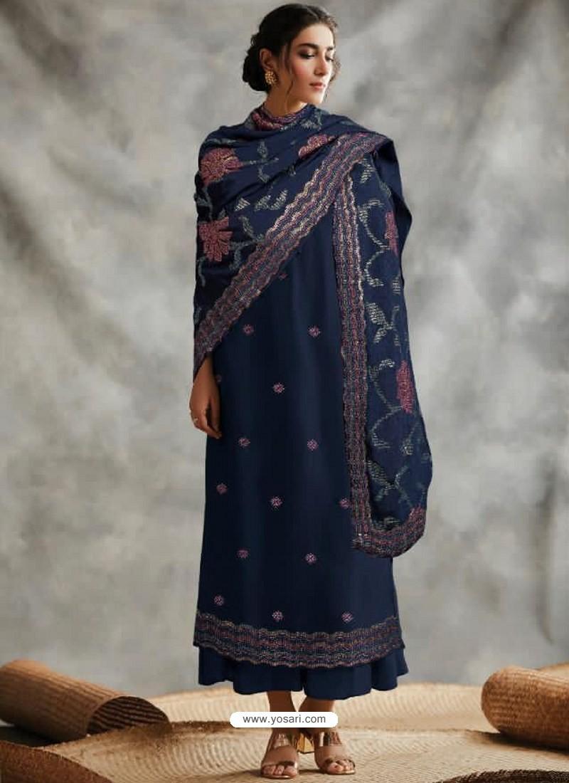 Navy Blue Designer Party Wear Blooming Foux Georgette Salwar Suit