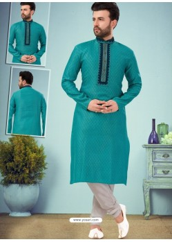 Turquoise Readymade Designer Party Wear Kurta Pajama For Men