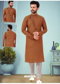 Rust Readymade Designer Party Wear Kurta Pajama For Men