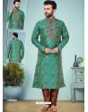 Aqua Mint Readymade Designer Party Wear Kurta Pajama For Men