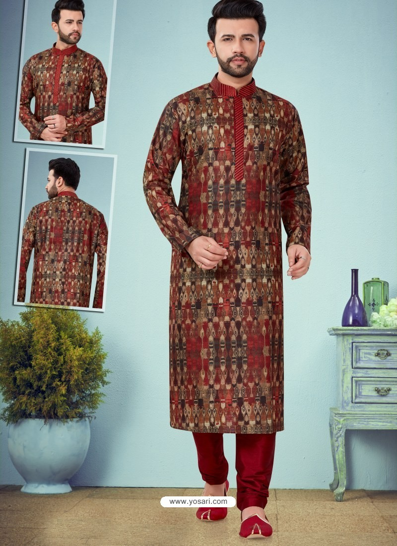 Multi Colour Readymade Designer Party Wear Kurta Pajama For Men