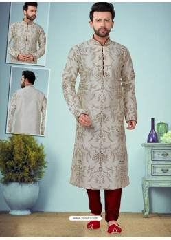 Off White Readymade Designer Party Wear Kurta Pajama For Men