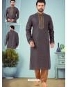 Dark Grey Readymade Designer Party Wear Kurta Pajama For Men