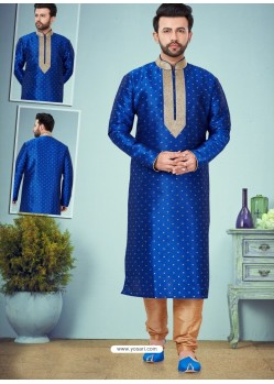 Royal Blue Readymade Designer Party Wear Kurta Pajama For Men